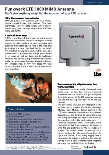 Funkwerk LTE 1800 MIMO Antenna - Funkwerk Breitband