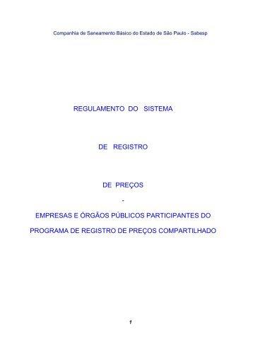 regulamento do sistema de registro de preços - empresas ... - Sabesp