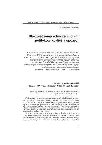 Ubezpieczenia rolnicze w opinii polityków koalicji i opozycji - KRUS