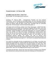 """05. Februar 2008 primeMail startet die Aktion """"Gratis Test"""""""