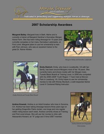 2007 Scholarship Awardees - Morgan Dressage Association