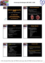 Vorlesung Kardiologie LMU 2005: DCM Dilatative Kardiomyopathie ...