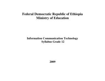 Federal Democratic Republic of Ethiopia Ministry of Education - MOE