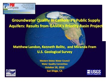 Water Reuse and Emerging Contaminants Issues