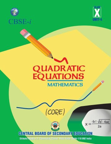 Unit-4: Quadratic Equations (Core) - New Indian Model School, Dubai