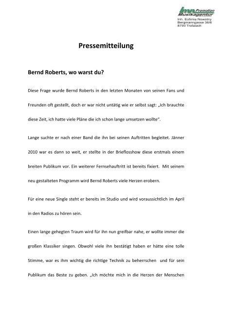 Pressemitteilung - Gemeinde Kirchberg an der Raab