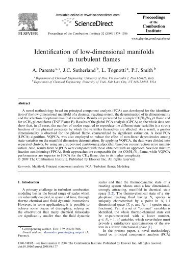 Identification of low-dimensional manifolds in turbulent flames