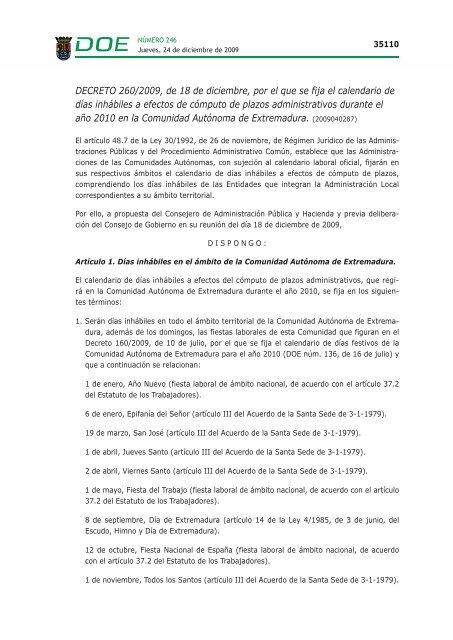 Calendario Del 1979.Decreto 260 2009 De 18 De Diciembre Por El Que Se Fija El