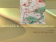 ENVS 434: Watershed Management