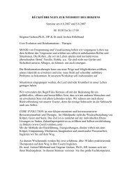 RÜCKFÜHRUNGEN ZUR WEISHEIT DES HERZENS Seminar am ...