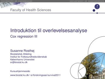 Introduktion til overlevelsesanalyse - Cox regression III