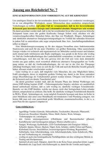 Auszug aus Reichsbrief Nr. 7 - Stammtisch Neumarkt