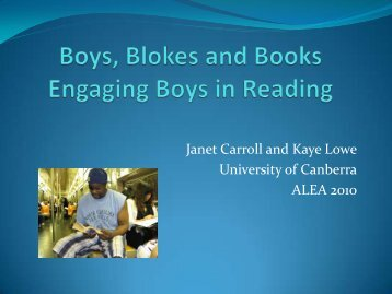 Boys, Blokes and Books - AATE/ALEA National conference