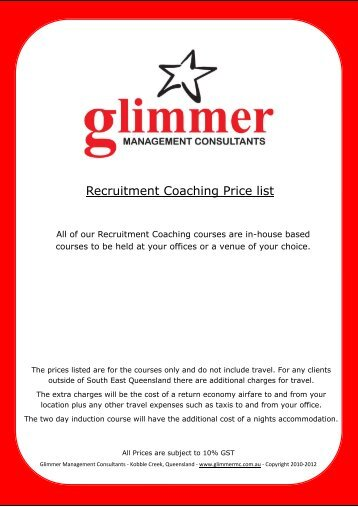 Recruitment Coaching Packages and Pricing - RCSA