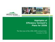 Highlights of Efficiency Vermont's Plans for 2006