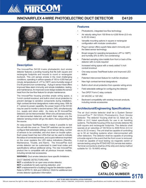innovairflex 4-wire photoelectric duct detector d4120 - Mircom