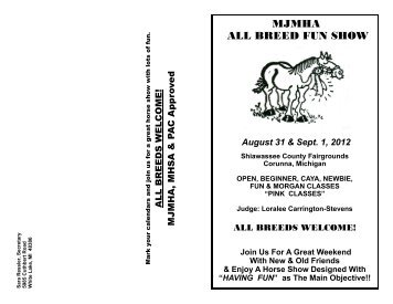 MJMHA ALL BREED FUN SHOW - Michigan Justin Morgan Horse ...