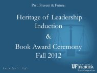 Heritage of Leadership Induction & Book Award Ceremony Fall 2012