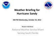 Weather Briefing for Hurricane Sandy - Miami Shores Village