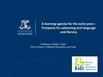 A learning agenda for the early years : Prospects for advancing oral ...