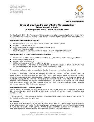 Press Release - Sun Pharma