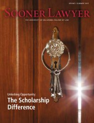 View the Sooner Lawyer Spring/Summer 2013 issue - OU College of ...