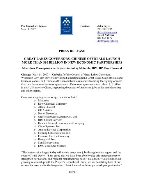 PRESS RELEASE GREAT LAKES GOVERNORS, CHINESE OFFICIALS LAUNCH MORE