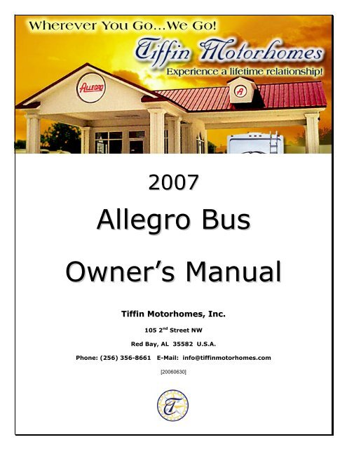 Allegro Bus Owner S Manual Tiffin Motorhomes