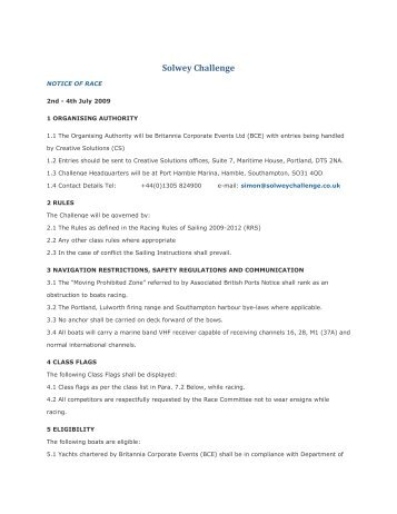 The Solwey Challenge Notice of Race - Cowes Online