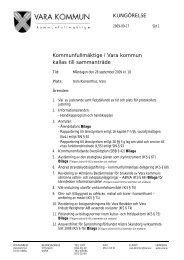 KUNGÖRELSE Kommunfullmäktige i Vara kommun kallas till ...