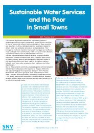Sustainable Water Services and the Poor in Small Towns - SNV