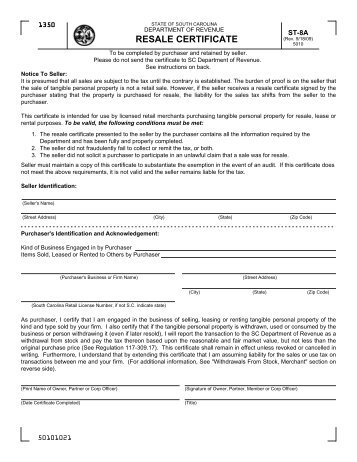 Resale Certificate (ST-8A)