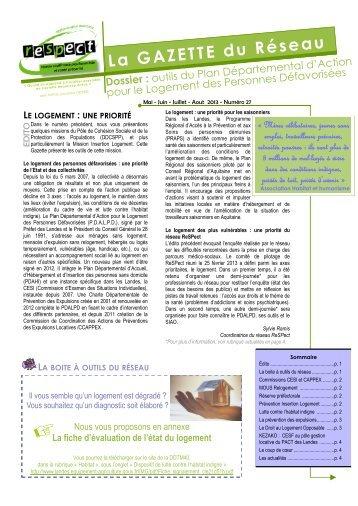 Gazette n°27 - Mai - Juin - Juillet - Ireps Aquitaine