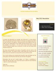 May 2012 Newsletter - Bold In Gold