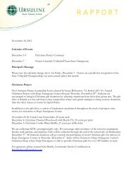 Rapport November 30, 2012 - Ursuline Academy