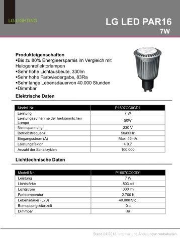 LG P1607CC0GD1 Datenblatt   LED Beleuchtung