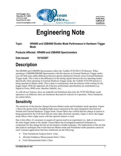 USB4000 and HR4000 Shutter Mode Performance in     - Ocean Optics