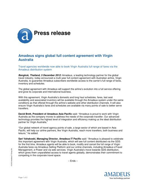 Amadeus signs global full content agreement with Virgin