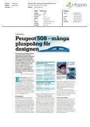 Källa: VVS-Forum Peugeot 508 - mänga pluspoäng för designen ...