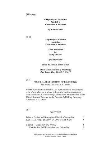 Editor's Preface and Biographical Sketch of the ... - ElmerGates.com