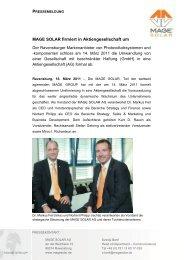 MAGE SOLAR firmiert in Aktiengesellschaft um