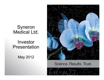Syneron Medical Ltd. Investor Presentation - Marketwire