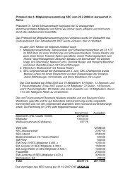 Protokoll der 8. Mitgliederversammlung SEC - Swiss Eventing Club