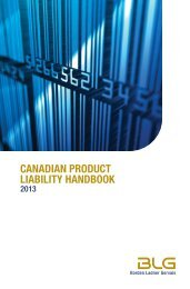 canadian product liability handbook - Borden Ladner Gervais LLP