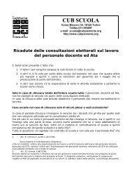 Ricadute delle consultazioni elettorali sul lavoro del ... - CUB Piemonte