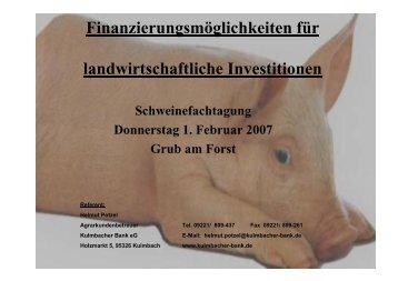Finanzierungsmöglichkeiten für landwirtschaftliche Investitionen