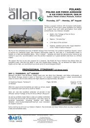 Poland – Air Show – Provisional Itinerary – Issue 1 - Ian Allan Travel
