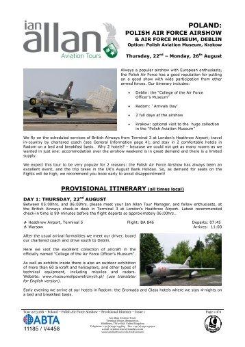 Poland – Air Show – Provisional Itinerary – Issue 1 - Ian Allan Travel