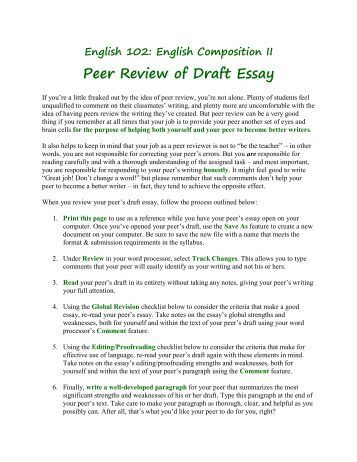 questions for peer review essay Questions to ask about the qualities of an essay questions to ask about the parts of an essay peer-review online  of this written communication is through peer .
