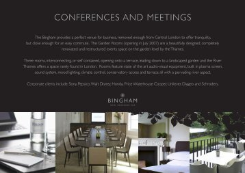 CONFERENCES AND MEETINGS - The Bingham Hotel